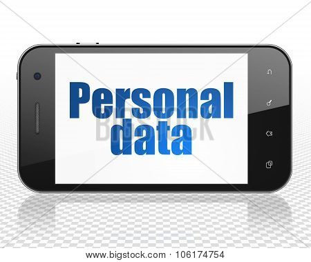 Information concept: Smartphone with Personal Data on display