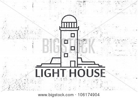Vintage Label -  Lighthouse. Stock Vector.
