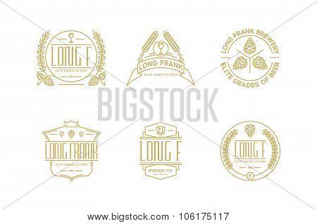 Retro Line Beer Labels. Stock Vector  Elements.