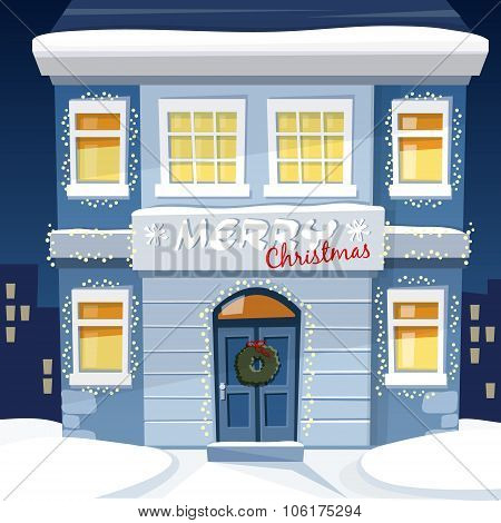 Christmas Greeting Card With Illuminated Old House And Snowy Urban Landscape, Vector