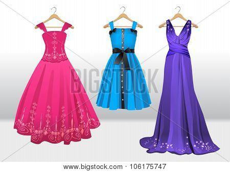 Woman's beautiful dresses on hanger