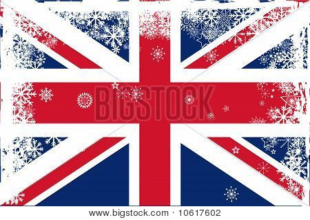 British Union Jack Flag With Snowflakes Grunge
