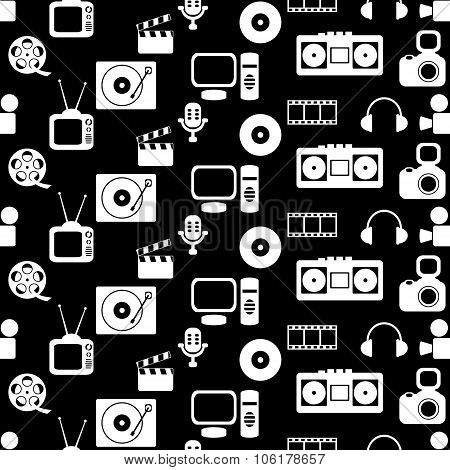 media seamless pattern with music and movie icons on black background