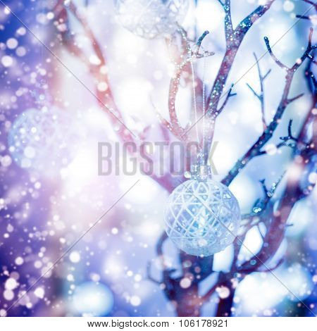 Christmas Blurred Background With Bauble