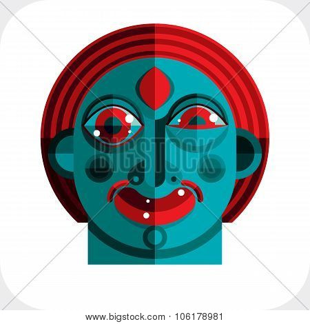 Vector Illustration Of Bizarre Modernistic Avatar, Cubism Theme Picture. Expression On A Person's Fa