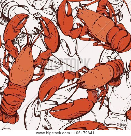 Lobsters, Crayfish Pattern