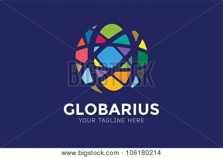 Vector abstract earth globe logo design