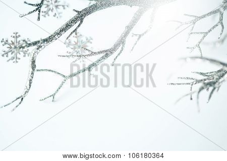 Christmas Silver Branch And Metallic Snowflakes