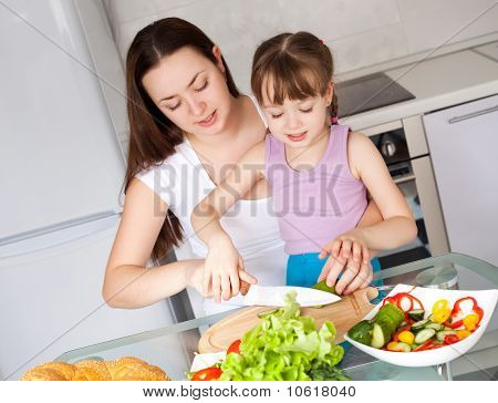 Mother And Daughter Eat Bread