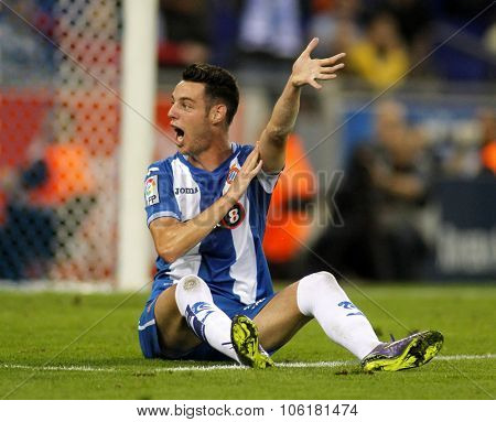BARCELONA - OCT, 3: Jorge Burgui of RCD Espanyol during a Spanish League match against Sporting Gijon at the Power8 stadium on October 3 2015 in Barcelona Spain