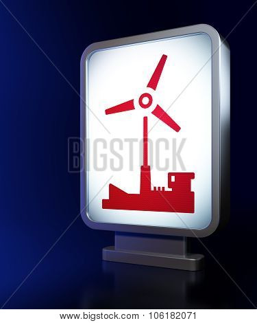 Industry concept: Windmill on billboard background