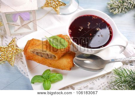 Croquettes And Red Borscht For Christmas Eve