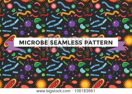 Bacteria virus vector seamless pattern. Biology microorganisms, microbes germs and bacilli. Vector pathogens icons, prokaryotes virus pattern, bugs isolated. Virus science microbe vector seamless