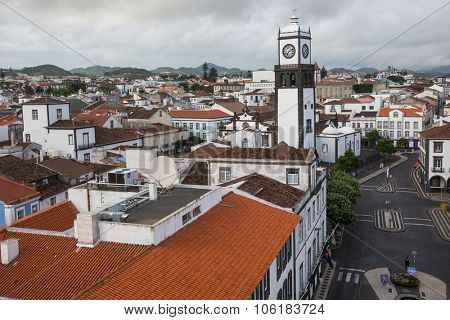 PONTA DELGADA, AZORES/PORTUGAL - CIRCA JUN, 2015: Top view of center of Ponta Delgada. City is located on Sao Miguel Island (233 km2) Region capital under the revised constitution of 1976.