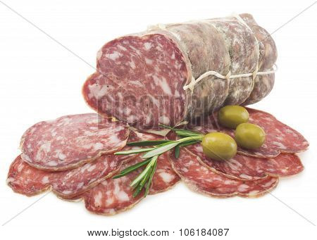 Sliced Italian salami with rosemary