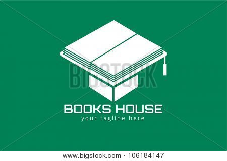 Books hat vector logo. Books icons. Books education hat. Books isolated on background. Book logo. Books hat. Back to school books. Education books, university, books symbol, book stack. Book vector