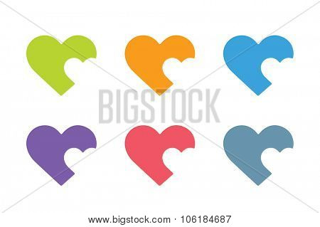 Heart icon vector logo. Heart logo, heart shape. Togetherness concept. Together logo. Heart logo. Heart icon. Love, health or doctor and relations symbol. Heart vector logo, heart together icons