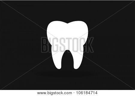 Tooth black and white Icon vector silhouette. Health, medical or doctor and dentist office symbols. Oral care, dental, dentist office, tooth health, tooth care, clinic. Tooth logo. Tooth icon. Tooth