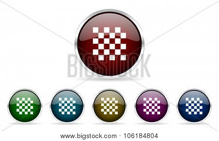 chess colorful glossy circle web icons set