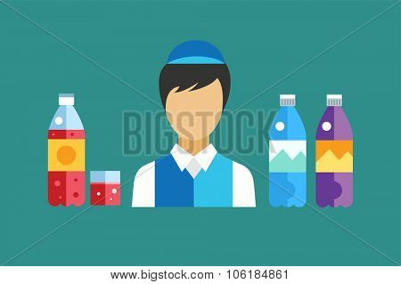 Water, soda and juice or tea bottles vector Illustration. Seller shop worker abstract face silhouette. Set of vector bottles icons. Clean water, fresh juice, nature drinks. Water bottle isolated. Soda