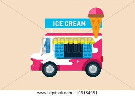 Ice cream vector truck van. Icecream isolated vectors. Candy ice cream. Tasty frozen, cartoon vector, set. Ping, red, blue, green, red ice cream. Ice cream transportation vector. Ice cream shop