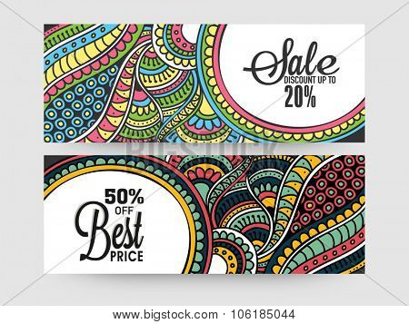 Colorful traditional floral design decorated Sale website header or banner set with 20% and 50% discount offers.
