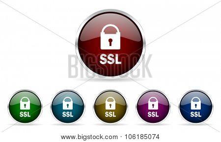 ssl colorful glossy circle web icons set
