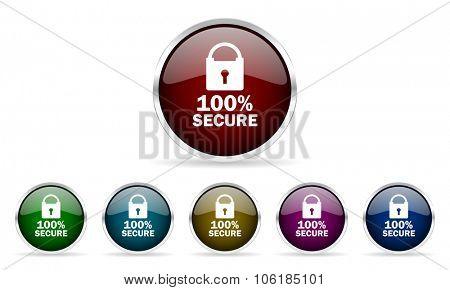 secure colorful glossy circle web icons set