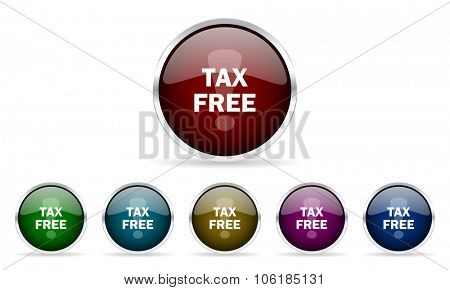 tax free colorful glossy circle web icons set