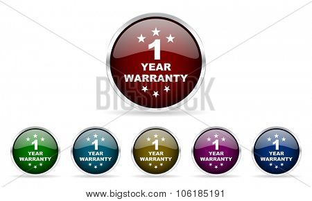 warranty guarantee 1 year colorful glossy circle web icons set