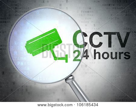 Security concept: Cctv Camera and CCTV 24 hours with optical glass