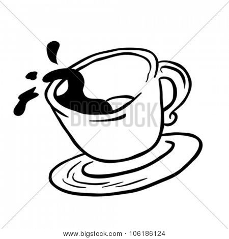 simple black and white coffee cup spill cartoon