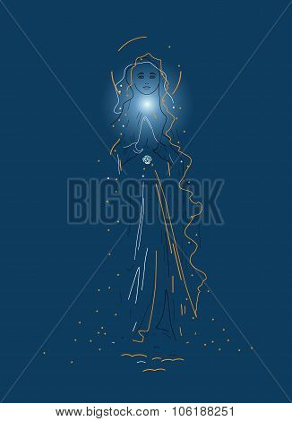 Virgin Mary In Dark Blue background