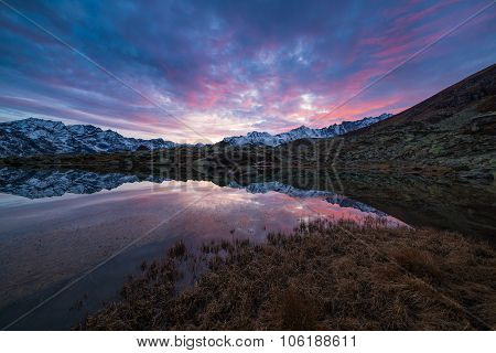 High Altitude Alpine Lake, Reflections At Sunset
