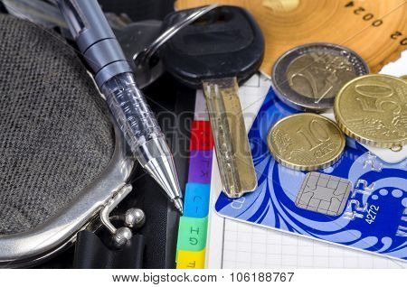 The Old Wallet, Pen, Diary, Key, Credit Cards And Coins