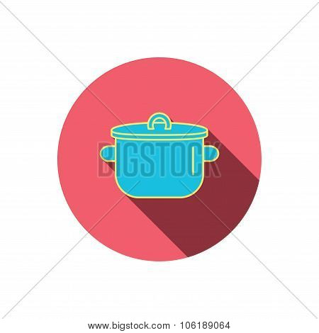 Pan icon. Cooking pot sign.