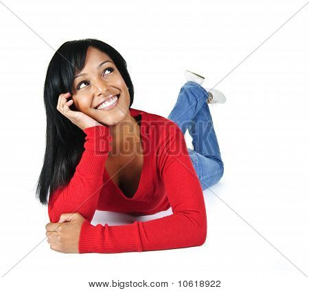 Smiling Young Woman Relaxing Looking Up