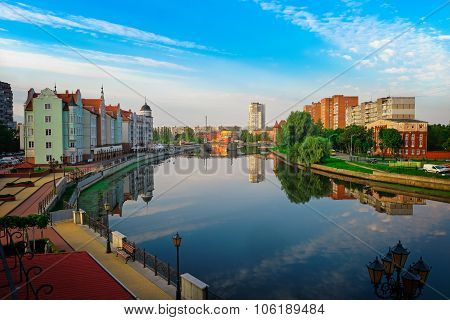 View of the center of Kaliningrad and Pregolya River
