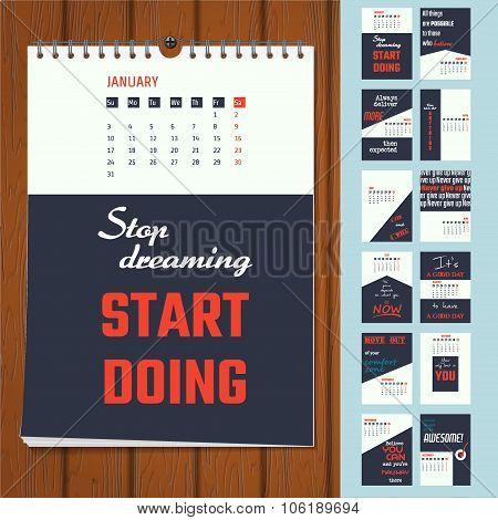 Motivation quotes calendar