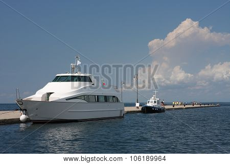 Tourist Boat Moored In Harbor In Trieste, Italy On Summer Day