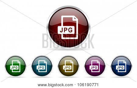 jpg file colorful glossy circle web icons set