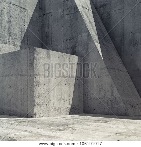 Abstract Concrete Interior With Geometric Shape 3 D