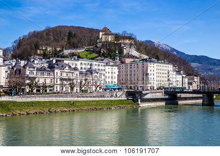 Riverside Of Salzach River-salzburg,austria,europe