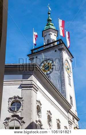 Detail Of Clock Tower Of Old Town Hall-salzburg