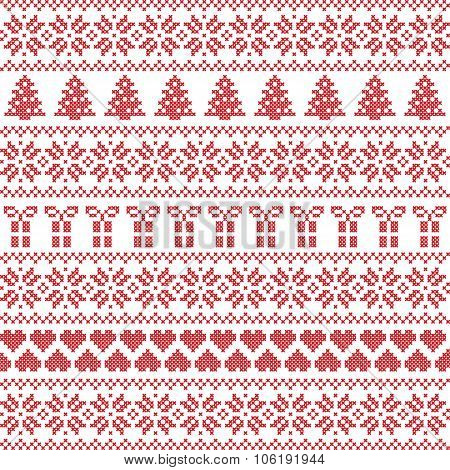 Scandinavian style, Nordic winter sweater stitch, knit pattern including star, Xmas tree, Xmas gift,