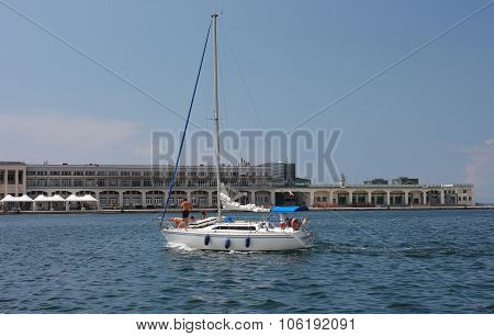 Sailboat Arrives To Harbor In Trieste, Italy