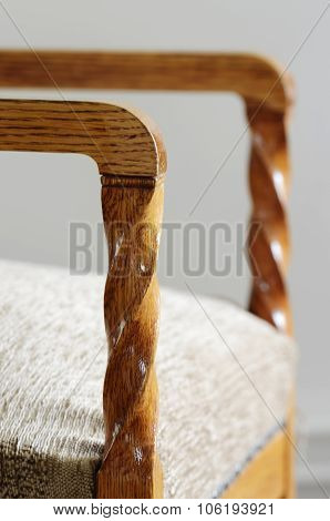 Detail Of An Old Chair, Wooden Spiral Arm