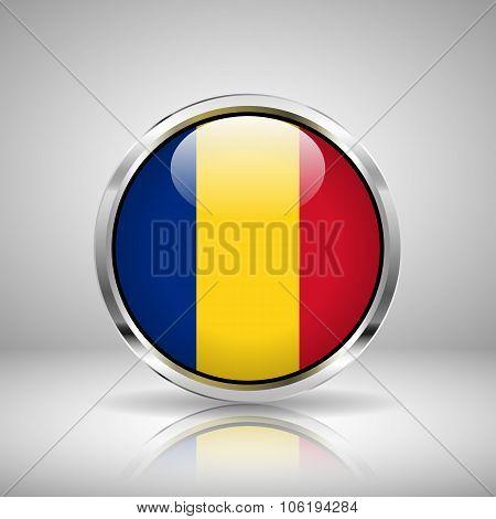 Flag Of Romania In Chrome