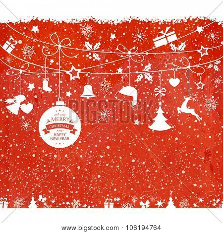 Various hanging Christmas ornaments such as Christmas bauble, santa hat, reindeer, angel, heart, present and Christmas tree with ribbons with snowfall on a red textured backdrop.