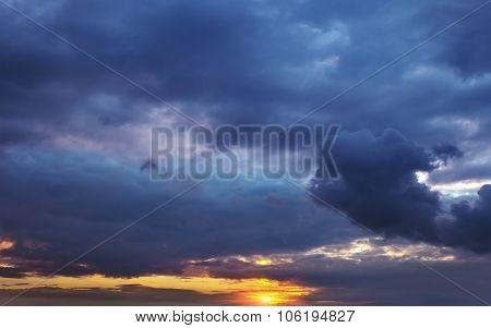 Dark Storm Clouds Volume At Sunset